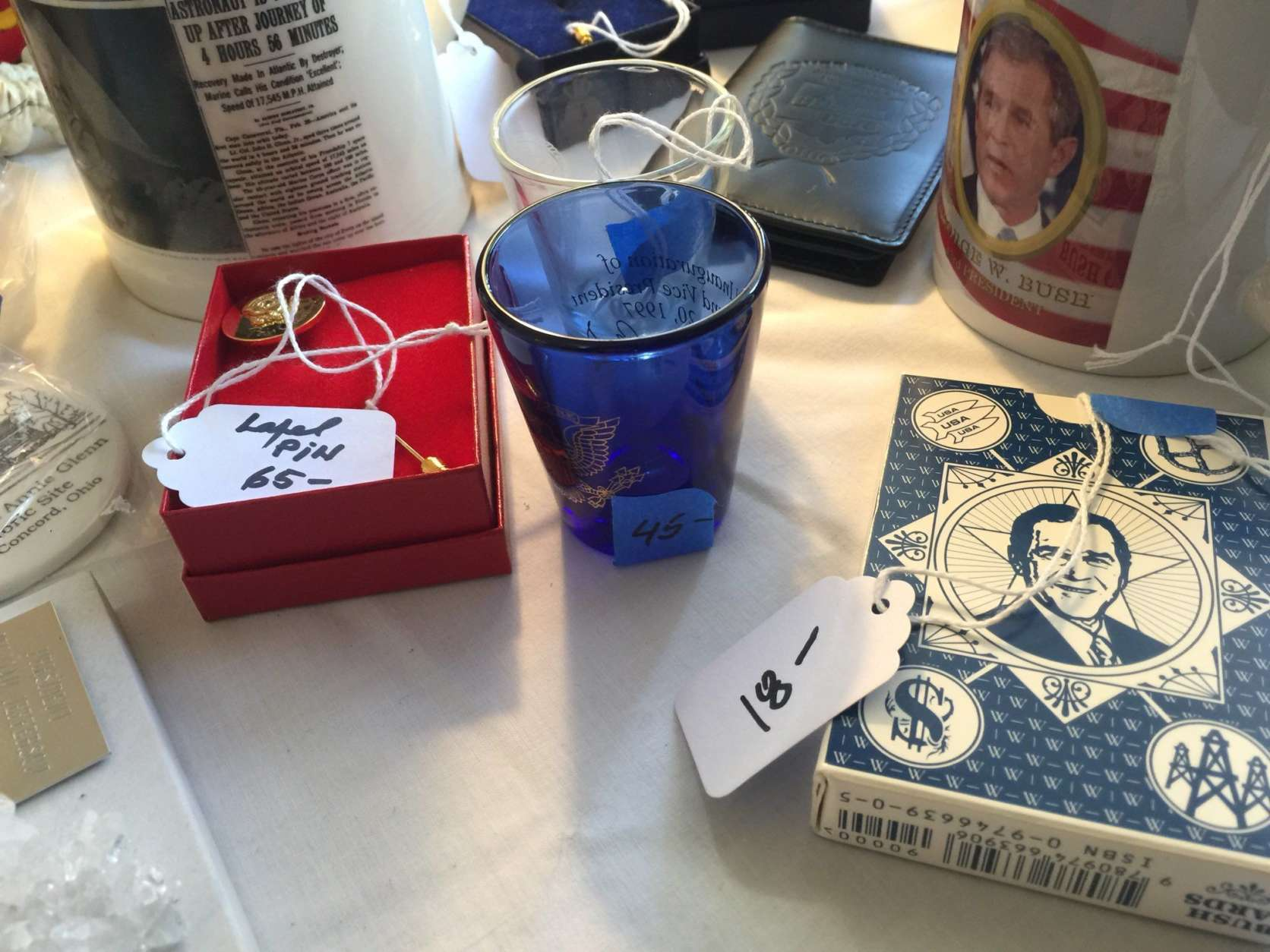 Various personal items at John Glenn's estate sale. (WTOP/Kristi King)