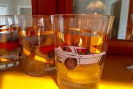 Car racing-themed double Old Fashioned glasses from John Glenn's estate. (Courtesy Greater Washington Estate Services)