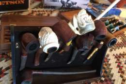 Meerschaum pipes are $175 at John Glenn's estate sale. (WTOP/Kristi King)