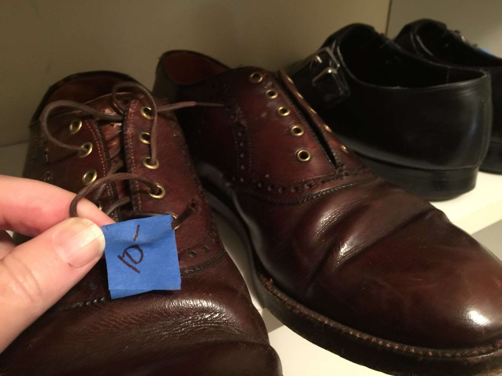 Dress shoes at John Glenn's estate sale. (WTOP/Kristi King)