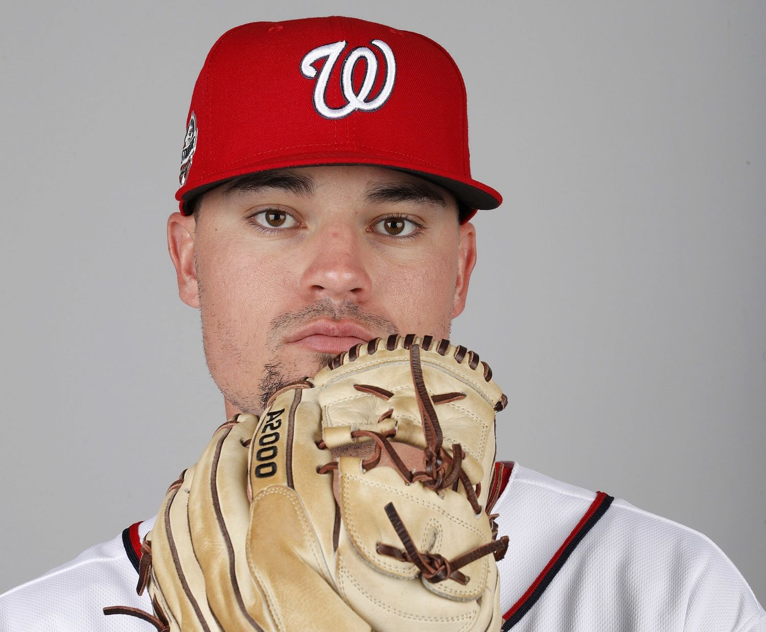 This is a 2018 photo of Koda Glover of the Washington Nationals baseball team. This image reflects the Nationals active roster as of Feb. 22, 2018 when this image was taken. (AP Photo/Jeff Roberson)