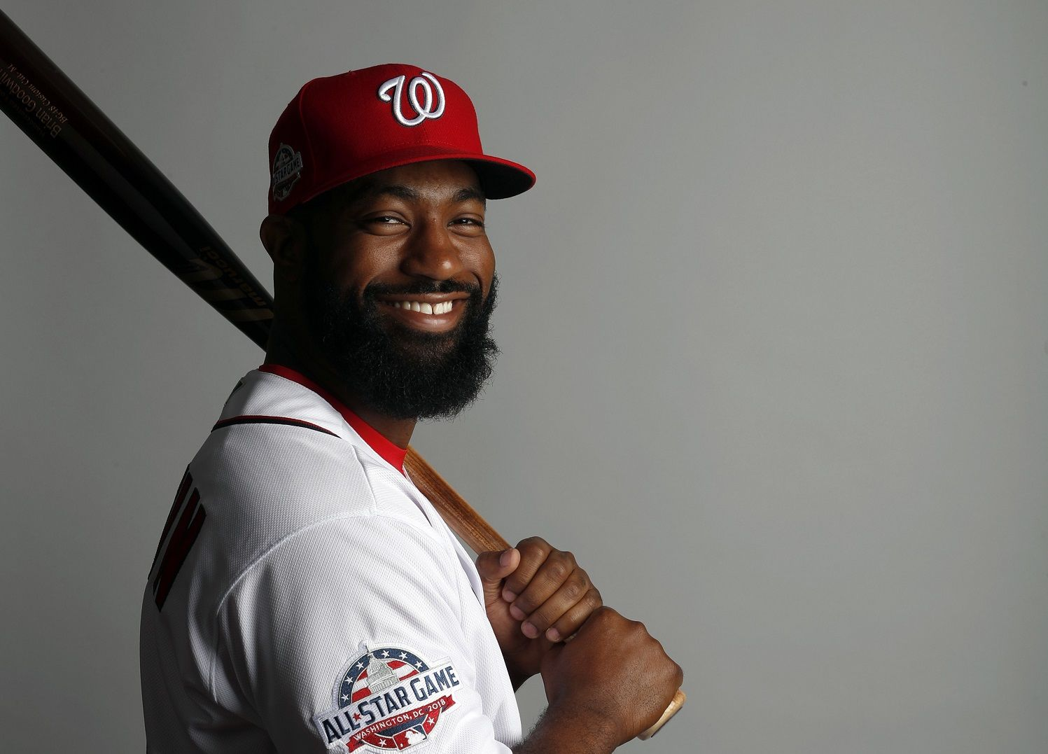 This is a 2018 photo of Brian Goodwin of the Washington Nationals baseball team. This image reflects the Nationals active roster as of Feb. 22, 2018 when this image was taken. (AP Photo/Jeff Roberson)