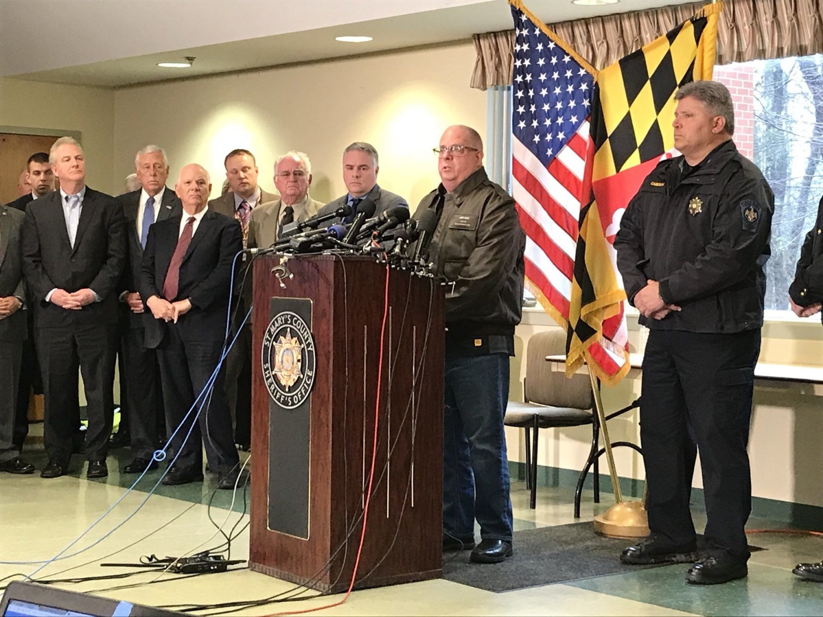 """""""Our hearts are broken,"""" said Gov. Larry Hogan after the shooting at Great Mills High School. (WTOP/Michelle Basch)"""