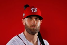 WEST PALM BEACH, FL - FEBRUARY 22:  Bryce Harper #34 of the Washington Nationals poses for a photo during photo days at The Ballpark of the Palm Beaches on February 22, 2018 in West Palm Beach, Florida.  (Photo by Kevin C. Cox/Getty Images)