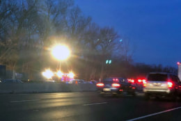 early morning photo of cars stopped along I-270