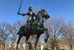 The missing sword in the Joan of Arc statute that lives in Meridian Hill Park has been replaced. (WTOP/Dick Uliano)