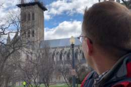 The high winds forced National Cathedral officials to send workers and visitors home, over concerns that it could blow loose scaffolding on the central tower. The tower is still undergoing repairs after the 2011 earthquake. (WTOP/Kate Ryan)