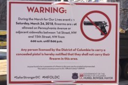 No guns permitted. Sign on display during March For Our Lives. (Courtesy Don Squires)
