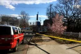 The driver of the car that collided with the fire truck was seriously hurt, and later died, police said. (WTOP/Mike Murillo)