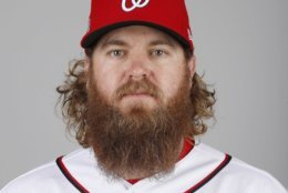 This is a 2018 photo of Shawn Kelley of the Washington Nationals baseball team. This image reflects the Nationals active roster as of Feb. 22, 2018 when this image was taken. (AP Photo/Jeff Roberson)