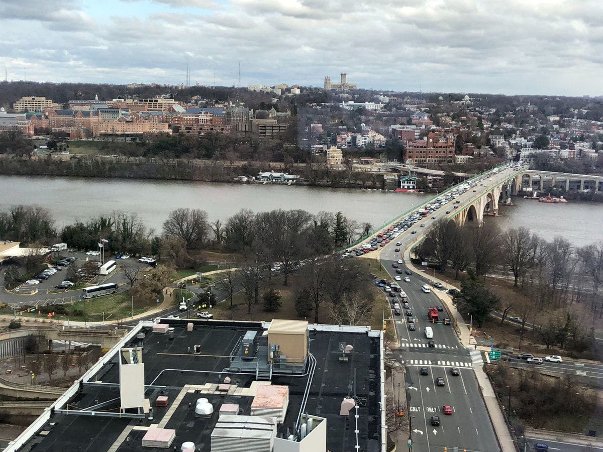 A downed tree led to major traffic delays on the Key Bridge into Georgetown. (Courtesy Warren Dahlstrom via Twitter)