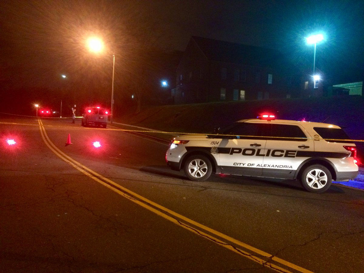 Police in Alexandria have blocked off traffic in both directions of King Street between North Hampton Place and Park Center Drive in Alexandria, Virginia, following a deadly motorcycle crash early Friday morning. (WTOP/Nick Iannelli)