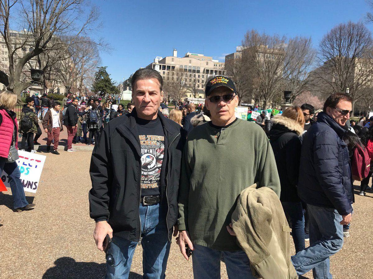 Vietnam War veterans Mark Dibatiste and Chuck Orr said gun violence begins with easy access to guns. (WTOP/Dick Uliano)