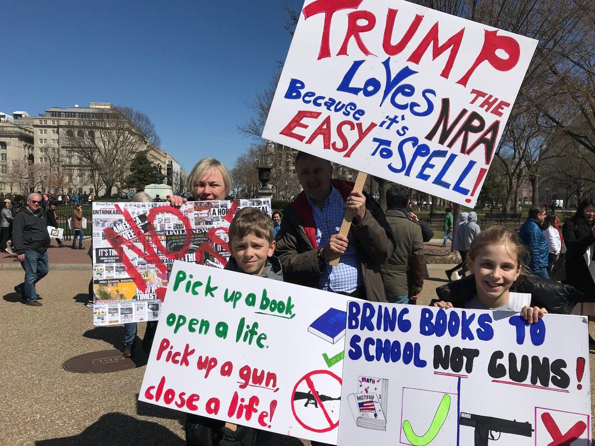 Kids and their parents protesting at Saturday's March For Our Lives. (WTOP/Dick Uliano)