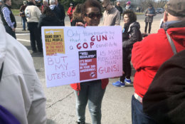 WTOP's Melissa Howell captured a woman holding a sign during Saturday's March For Our Lives rally. (WTOP/Melissa Howell)