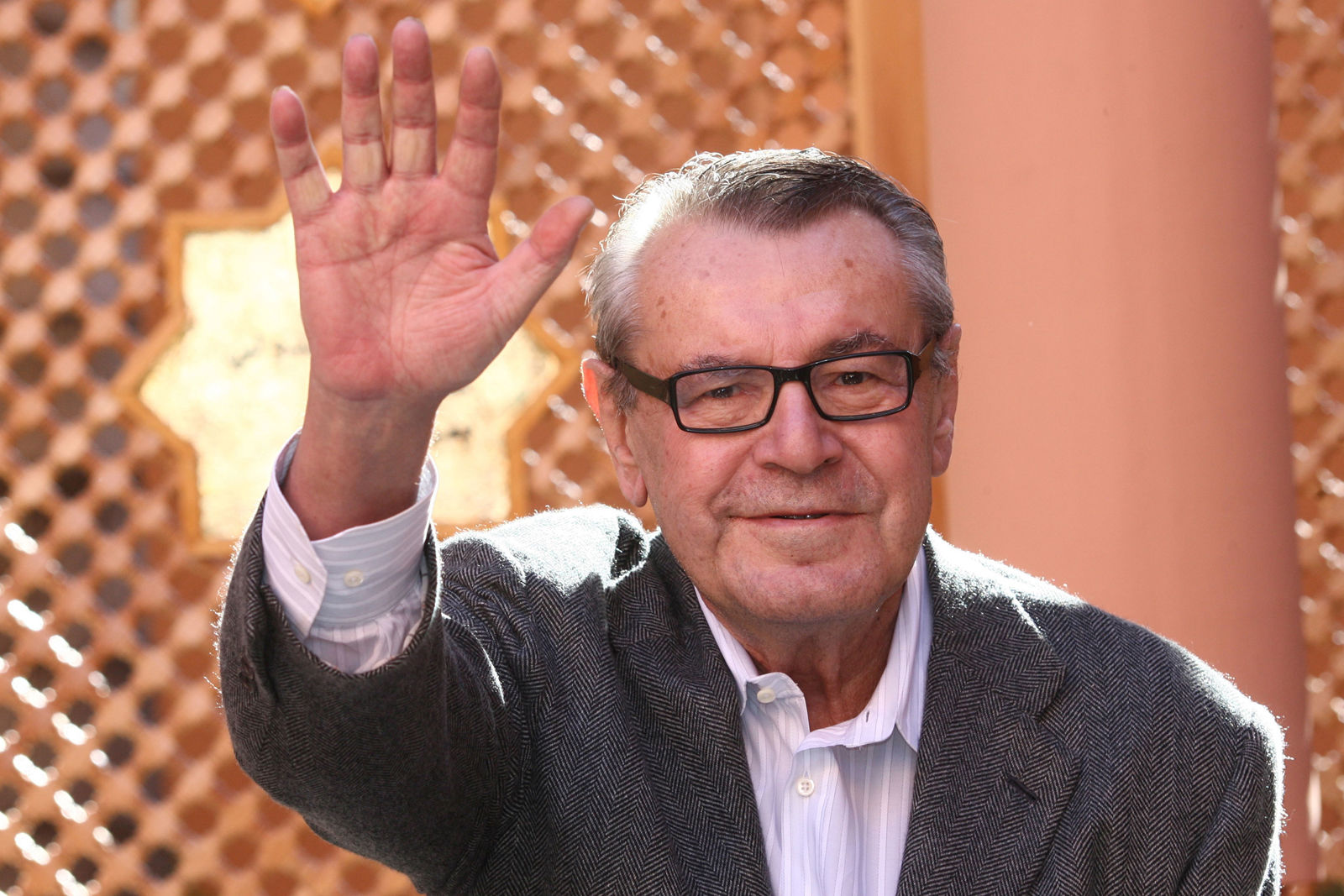 "FILE - In this Dec. 8, 2007, file photo, Czech-born filmmaker Milos Forman, Jury President of the seventh Marrakesh Film Festival, poses during a photo call on the second day of the Marrakesh 7th International Film Festival in Marrakesh. Forman, whose American movies ""One Flew Over the Cuckoo's Nest"" and ""Amadeus"" won a deluge of Academy Awards, including best director Oscars, died Saturday, April 14, 2018. (AP Photo/Abdeljalil Bounhar, File)"