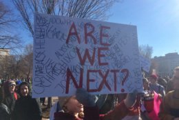 A sign at the National School Walkout, in front of the Capitol on March 14, 2018. (WTOP/Nick Iannelli)