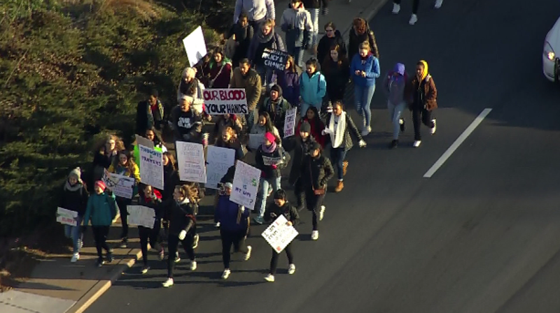 More than 28 D.C.-area schools are participating in the nationwide protest. They plan to gather at the White House and U.S. Capitol, where members of Congress will join them in demanding gun control legislation. (Courtesy NBC Washington)