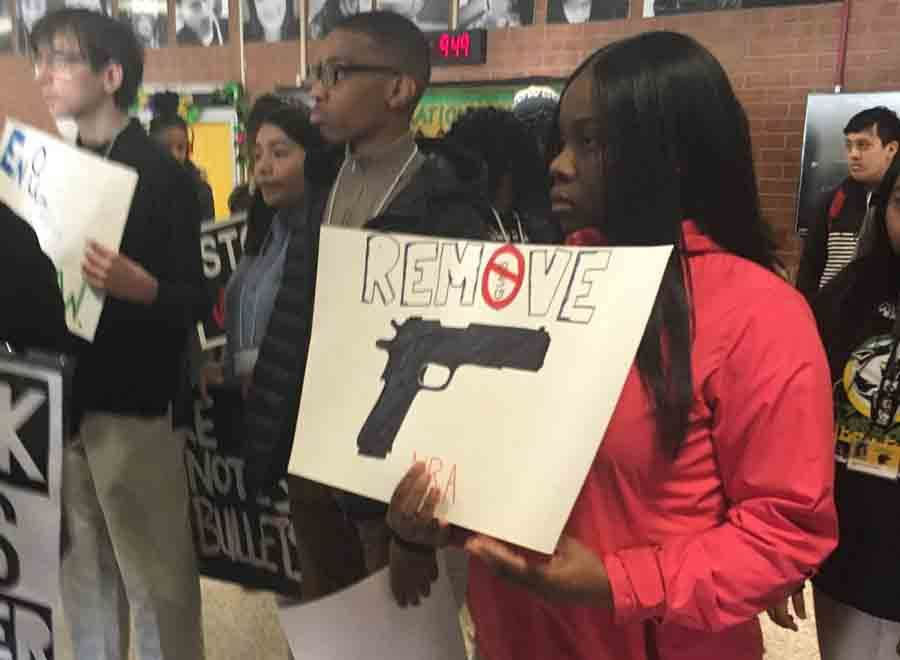 Students at Parkdale High School in Riverdale Park, Maryland, get in formation ahead of the 10 a.m. walkout. (Courtesy Prince George's County Public Schools via Twitter)