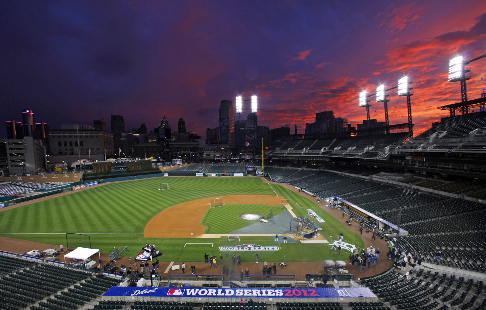 Comerica Park seen here before Game 3 of the 2012 World Series is the home of the Detroit Tigers. It comes in at No. 10 on the list with an average cost of $75.50. File. (AP Photo/Paul Sancya )