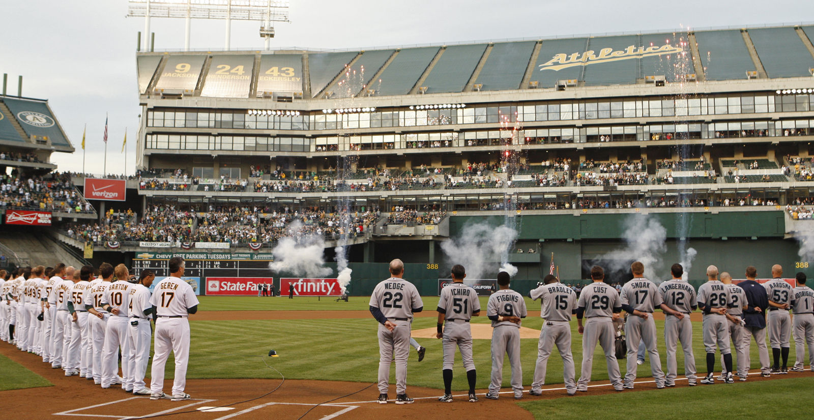 The Oakland Coliseum, seen here on Opening Day in 2011, is home to the Oakland A's and has a number of problems lately, including raw sewage flooding the dugouts. It still ranks at No. 12 on the list with an average cost of $73.67. File. (AP Photo/Ben Margot)