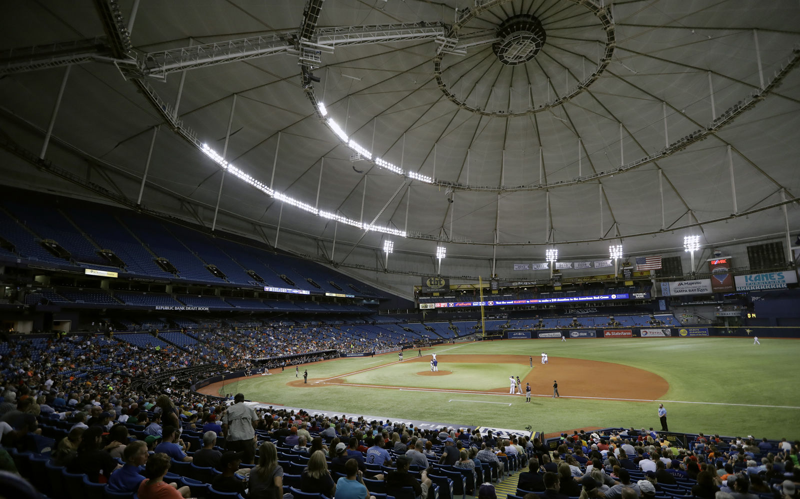 One of the last domed stadiums left in baseball, Tropicana Field, the home of the Tampa Bay Rays is No. 16 on the list with the average cost at $70. One big benefit of the Trop is that parking is free. File. (AP Photo/Chris O'Meara)