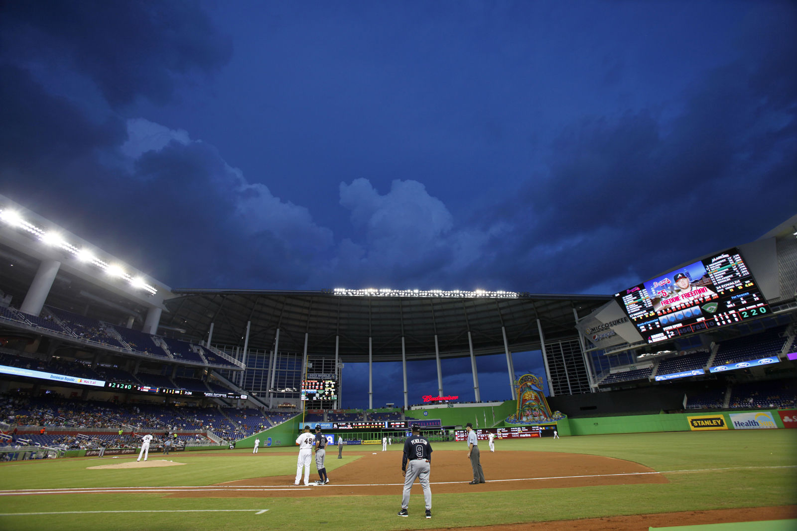 Marlins Park in Miami, home of the aforementioned Miami Marlins, is locked in a two-way tie for the most expensive hotdog in baseball, but it only comes in at No. 17 overall. The average cost of seeing the Marlins is $69.50. File. (AP Photo/Wilfredo Lee)