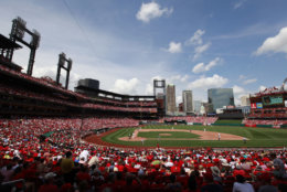 The third incarnation of Busch Stadium, home of the St. Louis Cardinals, comes in at No. 18. The average cost to see a game is $65.97. File. (AP Photo/Jeff Roberson)