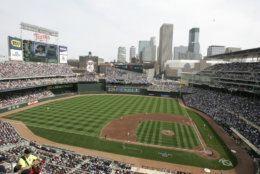 Target Field, the home of the Minnesota Twins, comes in at No. 19 with an average cost of $63.67. File. (AP Photo/Paul Battaglia)