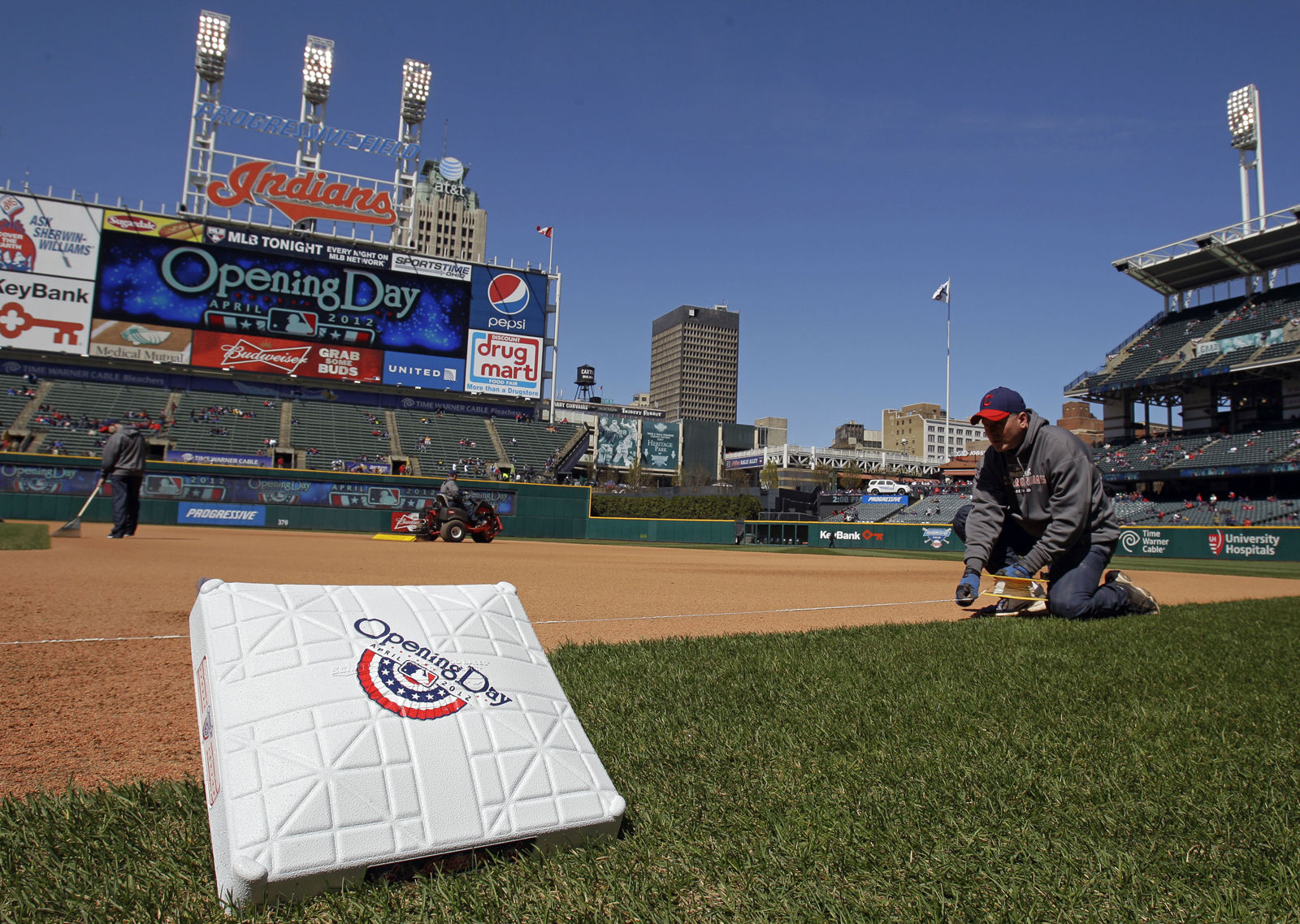 Progressive Field, home of the Cleveland Indians, is No. 22 on the list. It costs $62 on average to see a game. File. (AP Photo/Mark Duncan)