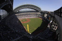 Miller Park, the home of the Milwaukee Brewers, comes in at No. 24. The average cost of seeing a Brewers game is $58.33. File. (AP Photo/Morry Gash)