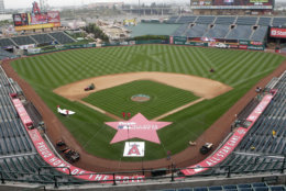 Angel Stadium, seen here ahead of the 2010 All-Star Game, is the third cheapest stadium to see a game. The average cost is $52.67. File.  (AP Photo/Jae C. Hong)