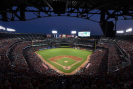 Globe Life Park, home of the Texas Rangers in Arlington, Texas, comes in at No. 5 with an average cost of $80.33. File. (AP Photo/Jeffrey McWhorter)