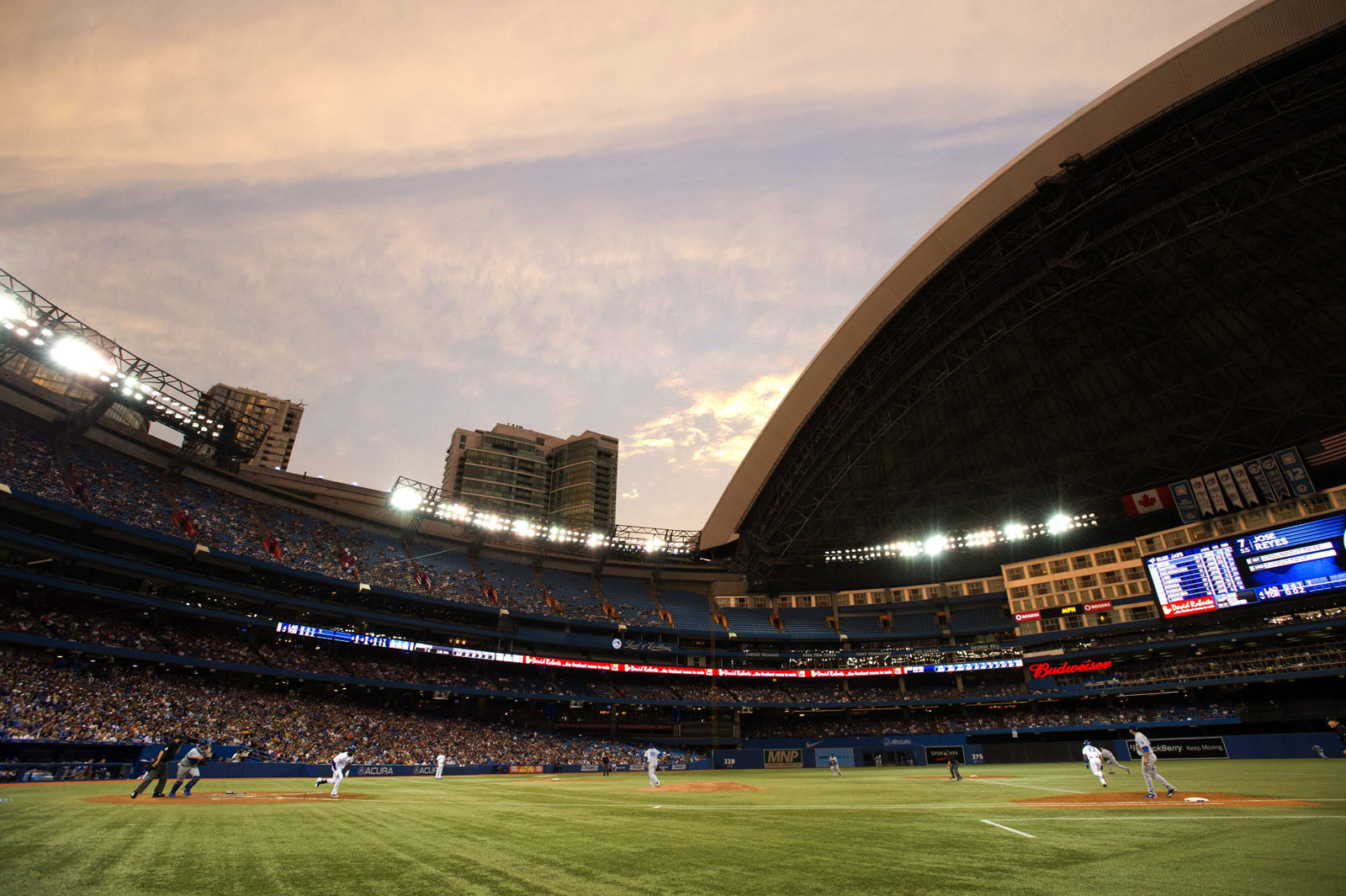 The home of the Toronto Blue Jays, the Rogers Centre, comes in at No. 6 on the list with an average cost of $78.22. File. (THE CANADIAN PRESS/Frank Gunn)