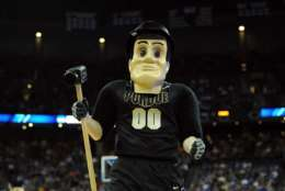 OMAHA, NE - MARCH 16:  Purdue Pete, the mscot for the Purdue Boilermakers, performs against the St. Mary's Gaels during the second round of the 2012 NCAA Men's Basketball Tournament at CenturyLink Center on March 16, 2012 in Omaha, Nebraska.  (Photo by Eric Francis/Getty Images)