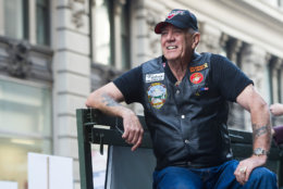 "Vietnam veteran and character actor R. Lee ""Gunny"" Ermey joined 700 Veterans, 12 riding Victory Motorcycles and a 5-ton truck as part of the IAVA/Victory Motorcycles presence at America's Parade on Tuesday, Nov. 11, 2014 in New York.  Iraq and Afghanistan Veterans of America and Victory Motorcycles have created ""The Road Home"" campaign where $500 is donated to IAVA for each Victory Motorcycle sold. (Charles Sykes/ AP Images for IAVA and Victory Motorcycles)"