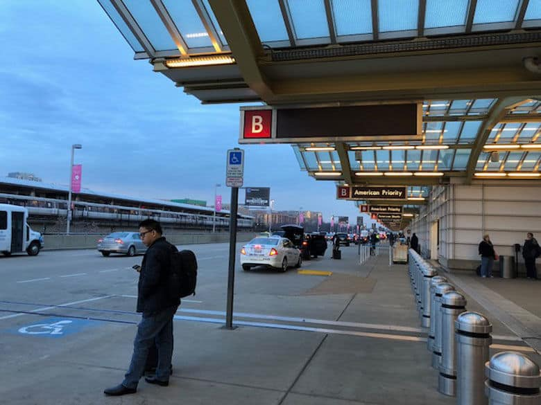 All the airport and hotel shuttles that normally operate on the lower level of Terminals B and C are being moved to the upper level. (WTOP/Melissa Howell)