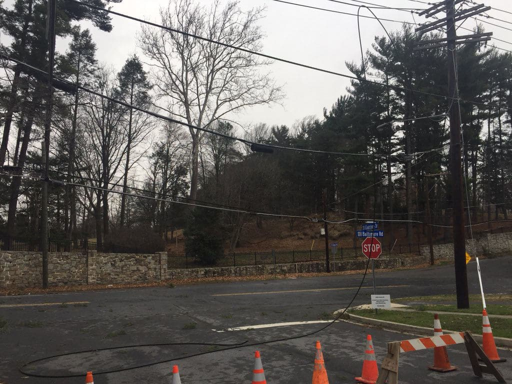 A long stretch of Baltimore Road in Rockville, Maryland, closed because of a downed wire on Friday, March, 2. (WTOP/John Domen)