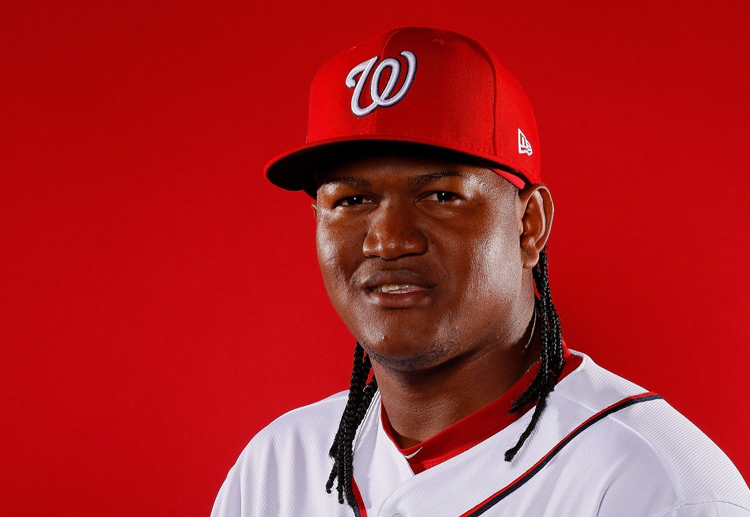 WEST PALM BEACH, FL - FEBRUARY 22:  Enny Romero #72 of the Washington Nationals poses for a photo during photo days at The Ballpark of the Palm Beaches on February 22, 2018 in West Palm Beach, Florida.  (Photo by Kevin C. Cox/Getty Images)