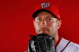 WEST PALM BEACH, FL - FEBRUARY 22:  Max Scherzer #31 of the Washington Nationals poses for a photo during photo days at The Ballpark of the Palm Beaches on February 22, 2018 in West Palm Beach, Florida.  (Photo by Kevin C. Cox/Getty Images)