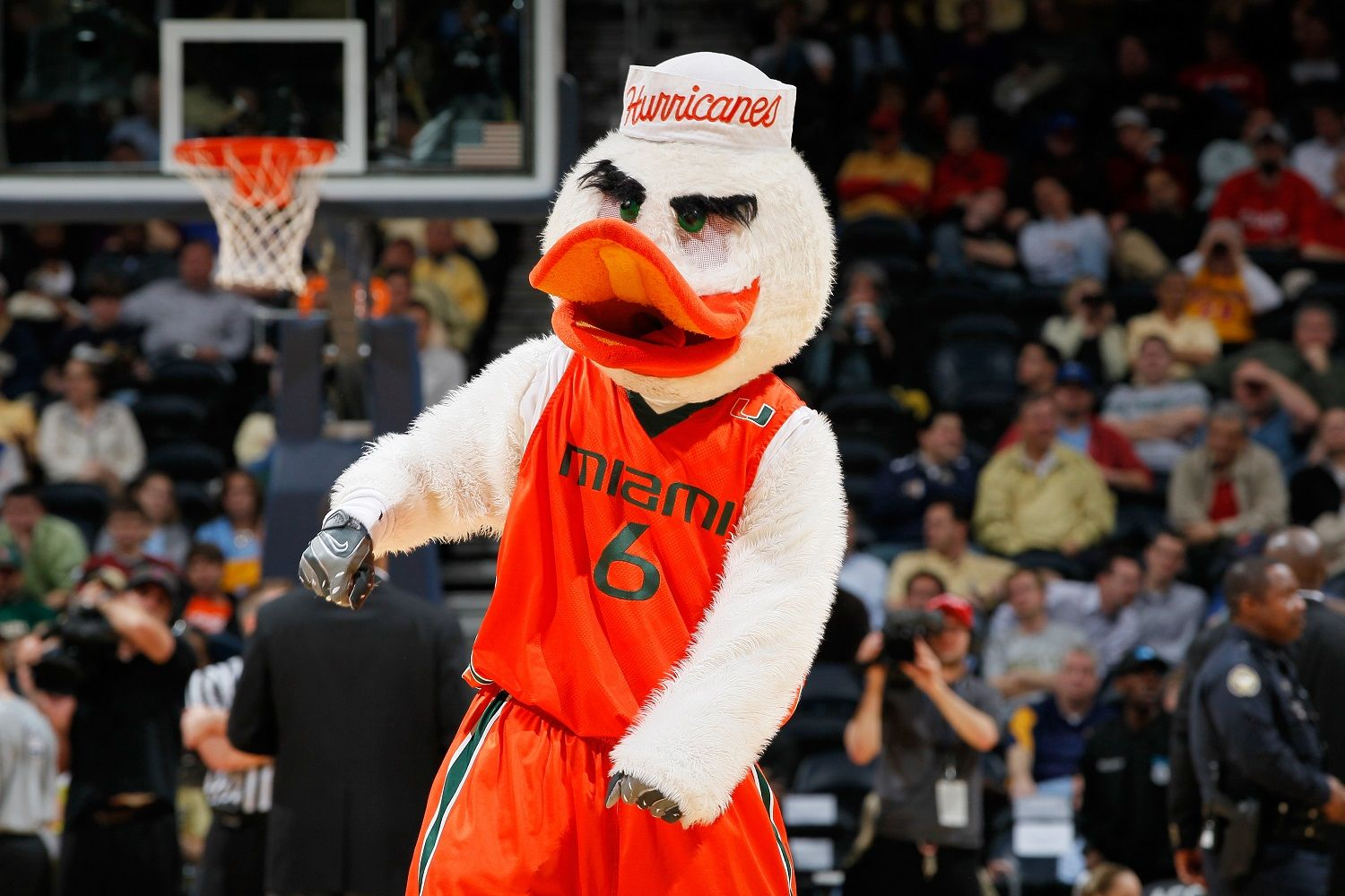 ATLANTA, GA - MARCH 08:  Sebastian the Ibis, the Miami Hurricanes mascot, gestures during their first round game of 2012 ACC Men's Basketball Conferene Tournament against the Georgia Tech Yellow Jackets at Philips Arena on March 8, 2012 in Atlanta, Georgia.  (Photo by Kevin C. Cox/Getty Images)