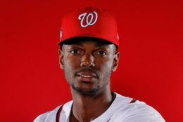 WEST PALM BEACH, FL - FEBRUARY 22:  Michael Taylor #3 of the Washington Nationals poses for a photo during photo days at The Ballpark of the Palm Beaches on February 22, 2018 in West Palm Beach, Florida.  (Photo by Kevin C. Cox/Getty Images)