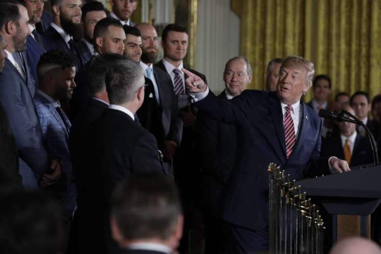 c0e03aaf6 President Donald Trump speaks during a ceremony honoring the World Series  Champion Houston Astros