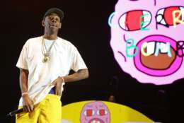 Tyler The Creator performs at the 2015 Coachella Music and Arts Festival on Saturday, April 11, 2015, in Indio, Calif. (Photo by Rich Fury/Invision/AP)