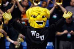 DAYTON, OH - MARCH 15:  The Wichita State Shockers mascot performs during the game between the Wichita State Shockers and the Vanderbilt Commodores in the first round of the 2016 NCAA Men's Basketball Tournament at UD Arena on March 15, 2016 in Dayton, Ohio.  (Photo by Gregory Shamus/Getty Images)