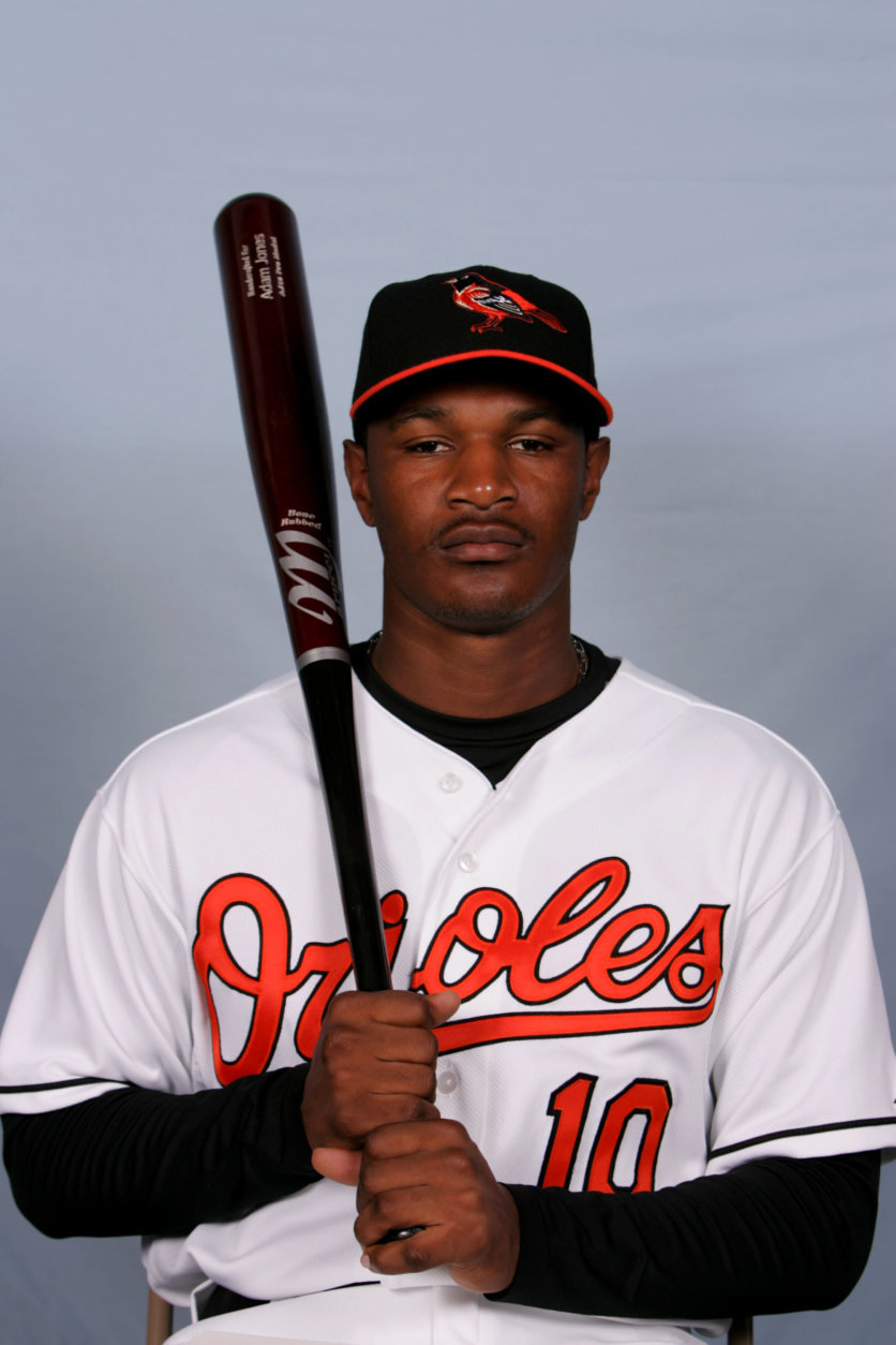 This is a 2008 file photo of Adam Jones of the Baltimore Orioles baseball team. This image reflects the Orioles active roster as of Monday, Feb. 25, 2008 when this photo was taken. (AP Photo/Rob Carr)