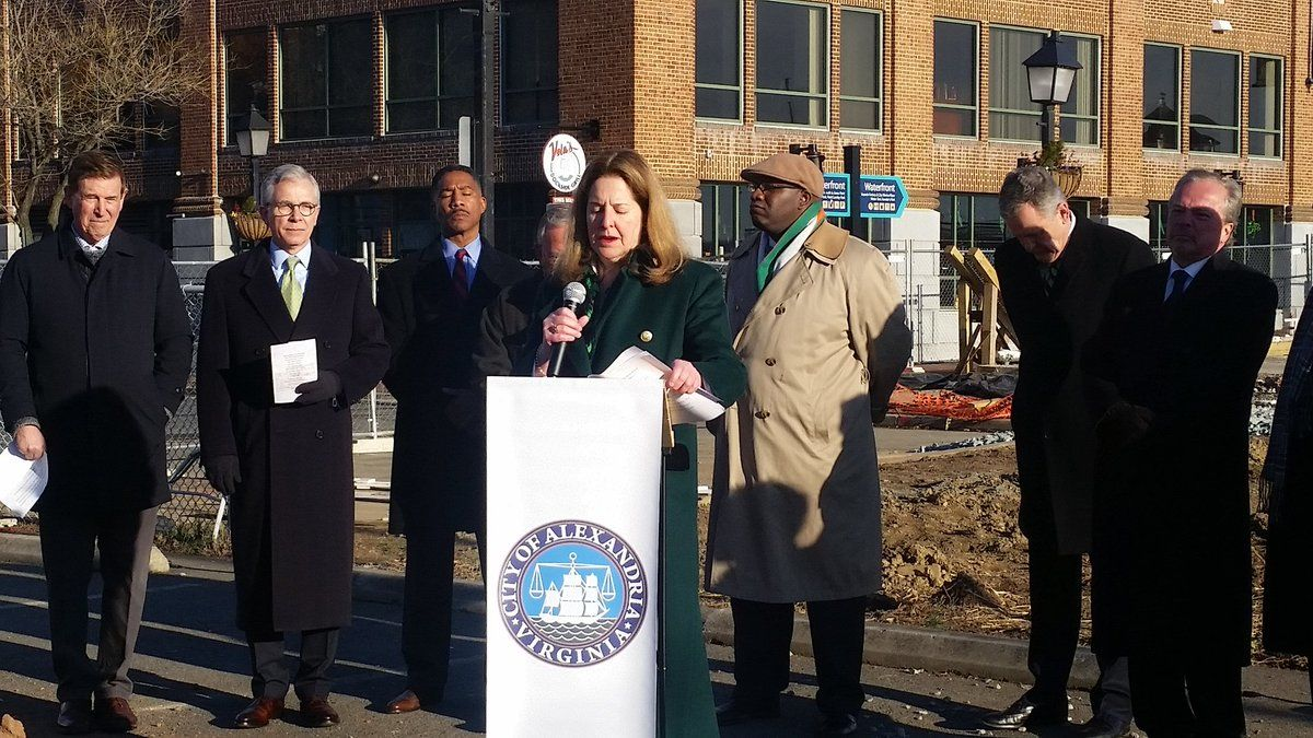 Alexandria Mayor Allison Silberberg, along with city council members, former Alexandria Mayor Bill Euille, Congressman Don Beyer and Alexandria residents came out on a frigid morning for the ceremony. (WTOP/Kathy Stewart)