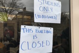 A student sit-in at Howard University's administration building continued on Friday. (WTOP/Michelle Basch)