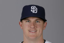 FILE - This 2013 file photo shows Brad Brach of the San Diego Padres baseball team. The Baltimore Orioles have acquired right-handed reliever Brad Bach from the Padres for a minor league pitcher, Monday, Nov. 25, 2013.  (AP Photo/Charlie Riedel, File)