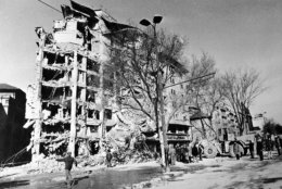 The ruins of a building at the University Square in Bucharest, Romania after the earthquake on March 4, 1977. (AP Photo)